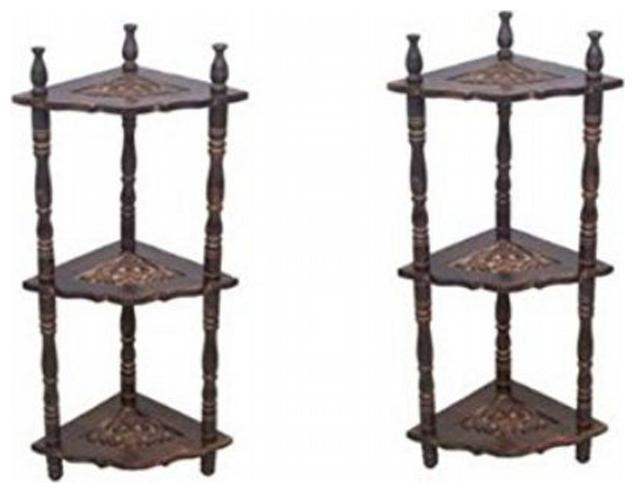 Desi Karigar Mini Wooden Corner Rack Side Table Home Decor Carved End...