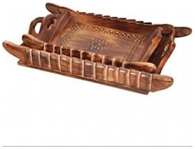 Desi Karigar Handicrafts Designed Brown Tray Wood Carvings Big-(15x9x2) Small Size(LxBxH-9X6X2) Inch