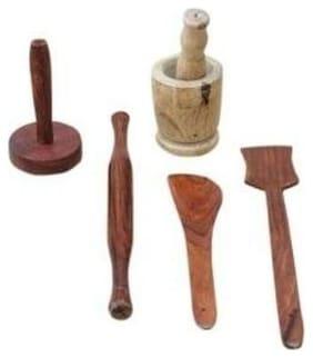 Desi Karigar Wood Brown Spatula & Ladle ( Set of 5 )