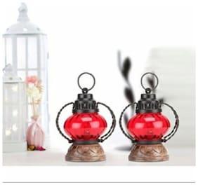 Desi Karigar  Red Wooden, Glass Lantern Size(LxBxH-5X5X7) Inch Pack Of 2