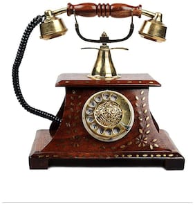 Desi Karigar Wood Brown Telephone ( Set of 1 )