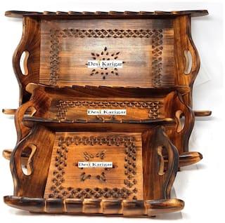 Desi Karigar Handicrafts Brown Wooden Decorative Tray Set - 3 pcs