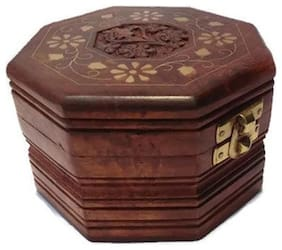 Desi Karigar Octagonal jewellery box with brass and carved work