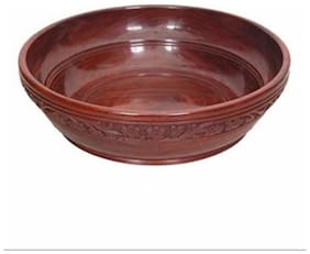 Desi Karigar Wooden With Handcarving Kitchen Ware Bowl Size (LxBxH-10x10x3) Inch