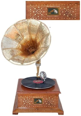 Desi Karigar Wood Golden & Brown Gramophone ( Set of 1 )