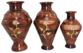 Desi Karigar Brown Wooden Floral Vase