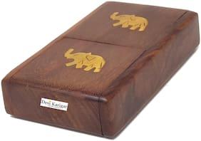 Desi Karigar Wooden Pocket Cigarette Case Holder Stand Hand Carved Brass Ele. Design Handicraft