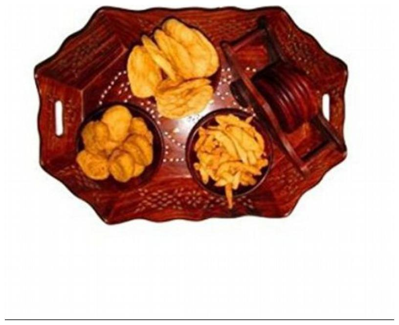 Desi Karigar Wooden Holi Special Snacks Dry Fruit Hexagonal Tray With Coaster...