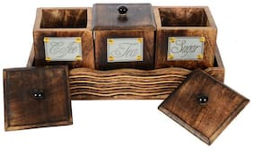 Desi Karigar Tea Coffee Sugar Storage Box Mango Wood Vintage Style