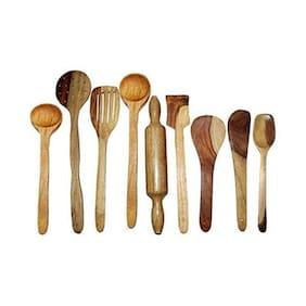 Desi Karigar Wooden Spoon Set of 9 Pcs/Wooden Spatula, Ladle & Kitchen Tool Set