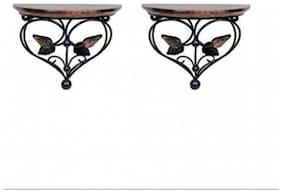 Desi Karigar Home Decor Premium Quality Leaf Design Shelf Rack Wall Bracket Wall Rack Set of 2