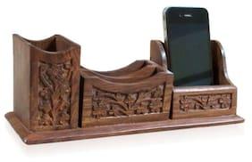 Desi Karigar Wooden Pen Stand Cum Mobile & Visiting Card Holder Carved Handicraft Gift Item