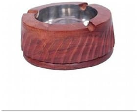 Desi Karigar Wooden Brown Ash tray ( Set of 1 )