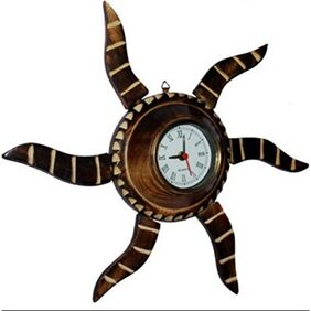 Desi Karigar Wooden Antique Rising Sun Analog Wall Clock