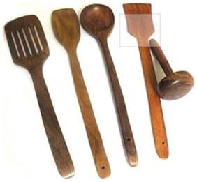 Desi Karigar Wood Brown Spatula ( Set of 5 )