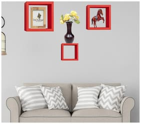 Desi Karigar Wall Mount Shelves Square Shape Set of 3 Wall Shelves Red