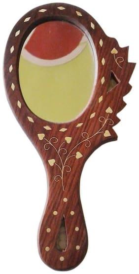 Desi Karigar Wooden Hand Mirror ( Brown ) Buy 1 Get Free