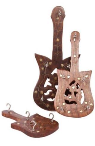 Buy Desi Karigar Guitar Shaped Wood Key Holder - Set Of 3 Online at ... 659b901b4