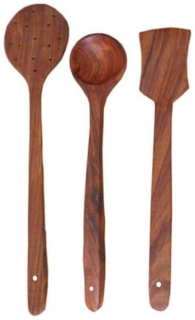 Desi Karigar Brown Wooden Cutlery Set Of 3