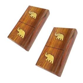 Desi Karigar Wooden Pocket Cigarette Case Holder Stand Hand Carved Brass Ele. Design Handicraft (Set Of 2)
