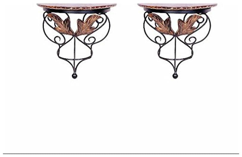 Desi Karigar wood   wrought iron hand carved leaf design wall bracket/Wall Shelves set of 2