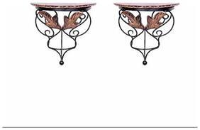 Desi Karigar wood & wrought iron hand carved leaf design wall bracket/Wall Shelves set of 2