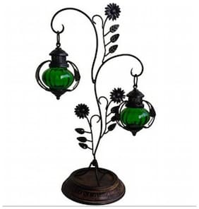 Desi Karigar  Attractive Glass with Metal Candle Stand Lantern Green