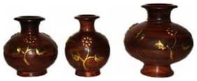 Desi Karigar Wooden Flower Pot Decorative Item Gift Home Decor House Kitchen Vase Showpiece