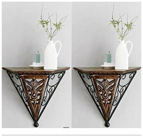 Desi Karigar Beautiful wood & wrought iron New Fancy wall bracket Pack of 2