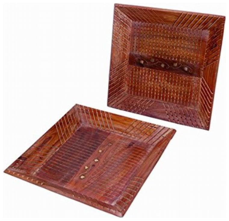 Desi Karigar Wooden Serving Tray Set Of 2 Square Shaped