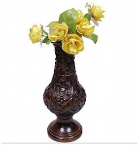 Desi Karigar Beautiful Wooden Antique Hand Carved Flower Vase Size (LxBxH-7x7x18) Inch
