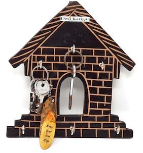 Desi Karigar Wooden Hut Shape Wall Decor Key Holder ( Black, 7 X 8 inch )