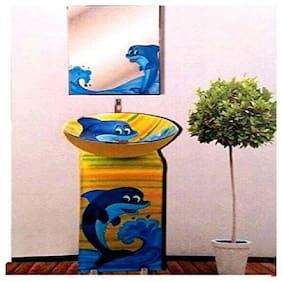 Design Blue Color Dolphin Fish Cartoon Glass Basin By ARANAUT