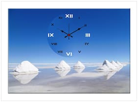 Design O Vista Canvas & Wood Analog Wall clock ( Set of 1 )