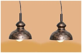 Design Villa Gold Color Iron Pendant Ceiling Hanging Lamp ( Pack Of 2 )