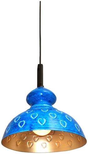Design Villa Blue Color Heart Design Iron Hanging Lamp (pendant)