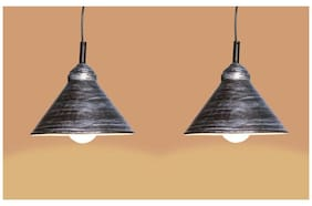 Design Villa Black Color Iron Pendant Ceiling Hanging Lamp ( Pack Of 2 )