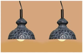 Design Villa Grey Color Geometrical Design Iron Pendant Ceiling Hanging Lamp ( Pack Of 2 )