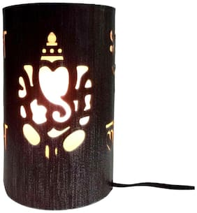 Design Villa Black Color With Silver Shading Ganesh Laxmi Design Iron Table Lamp