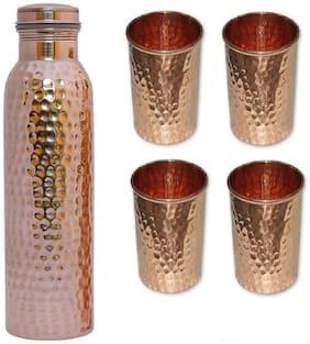 DVM 1000 ml Copper Copper Water Bottles - Set of 5