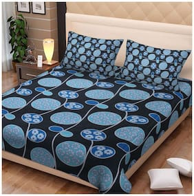 Spangle Cotton Abstract King Size Bedsheet 144 TC ( 1 Bedsheet With 2 Pillow Covers , Multi )