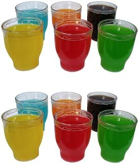 Designer Unbreakable Plastic Glass Set of 12 Pcs Polycarbonate Drinking Glass/Soft Drink Glass Set/Juice Glasses - (200 ML)