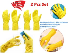 Dev trading  Rubber Reusable Hand Gloves for Washing Cleaning Kitchen Garden (Colour May Vary, Large) - 2 Pairs