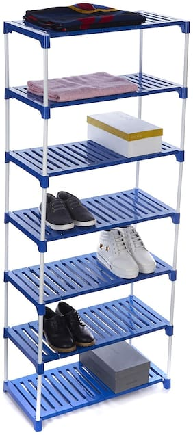 Dhani Creations Extra Strong Multipurpose Rack for Shoes, Clothes, Books & Utility Rack, Steel Frame with Plastic Shelves 7 Step