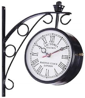 Dhani Creations Glass & Metal Analog Wall clock ( Set of 1 )