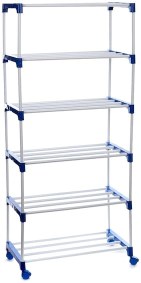 Dhani Creations Extra Strong Multipurpose Rack for Shoes, Clothes, Books & Utility Rack, Steel Frame with Metal Shelves 6 Step with Wheel