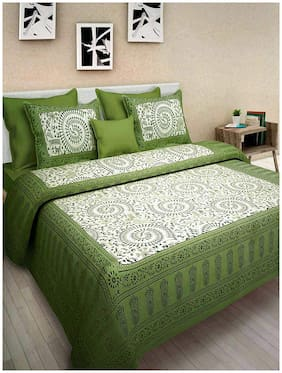 DHAWARIYA'S Cotton Printed Double Size Bedsheet 230 TC ( 1 Bedsheet With 2 Pillow Covers , Green )