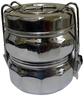 Dynore 2 Containers Stainless steel Lunch Box - Assorted