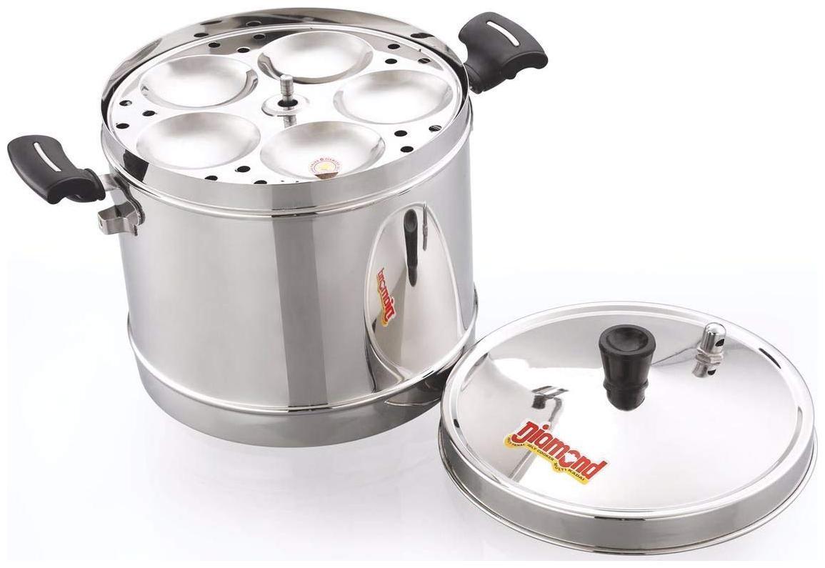 Diamond Pearl Idli Cooker / Steamer 20 Idlis   4 Plates    Heavy Gauge Stainless Steel