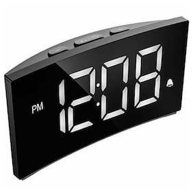 Digital Alarm Clock LED Display Night Light Bedroom Large White Numbers Snooze